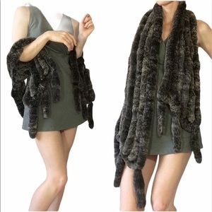 SAKS FIFTH AVE SOFT Rabbit Fur Grey Fur
